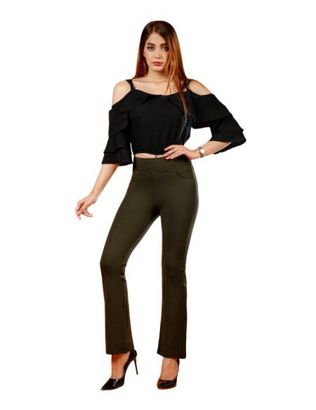 شلوار لگ زنانه جیب کنزی دمپا گشاد - کد F110