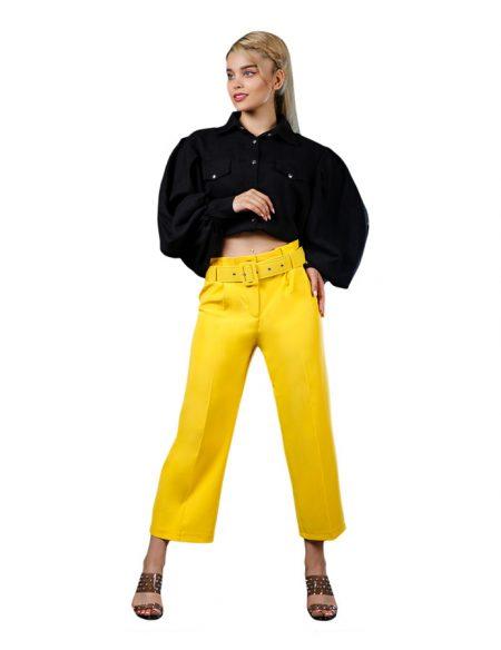 شلوار زنانه آلفا مام استایل از بالا گشاد کمر پیلی دار - کد F104