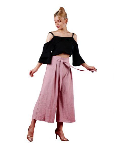 شلوار پارچه ای برنوتی زنانه مدل دامن شلواری _ کد F105